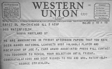 Bob Waterfield NFL MVP telegram
